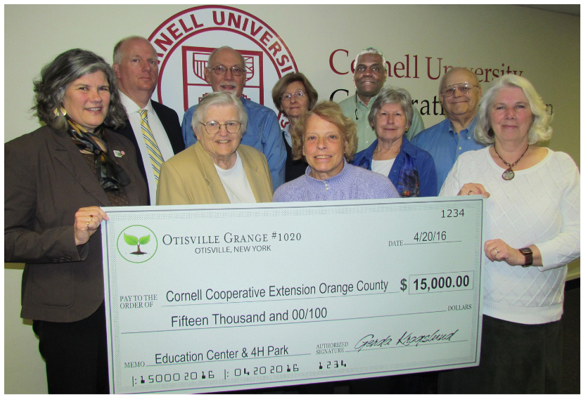 Members of Otisville Grange #1020 presented a $15,000 donation